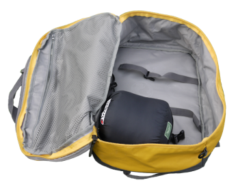 Ultralight down sleeping bag inside aircraft carry on bag